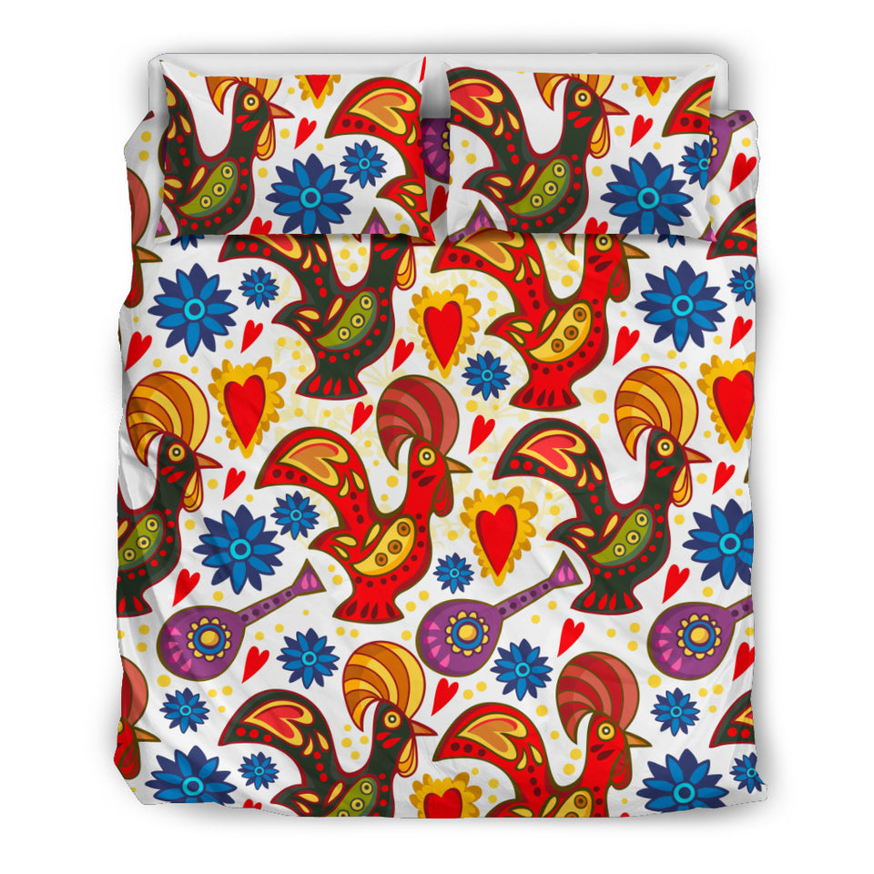 Colorful Rooster Chicken Guitar Pattern Bedding Set