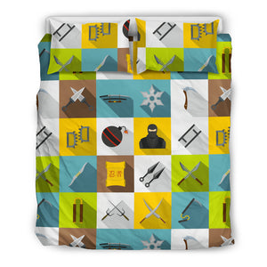 Ninja Weapon Set Pattern Bedding Set