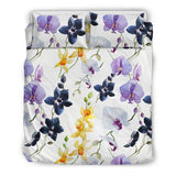 Orchid Pattern Background Bedding Set