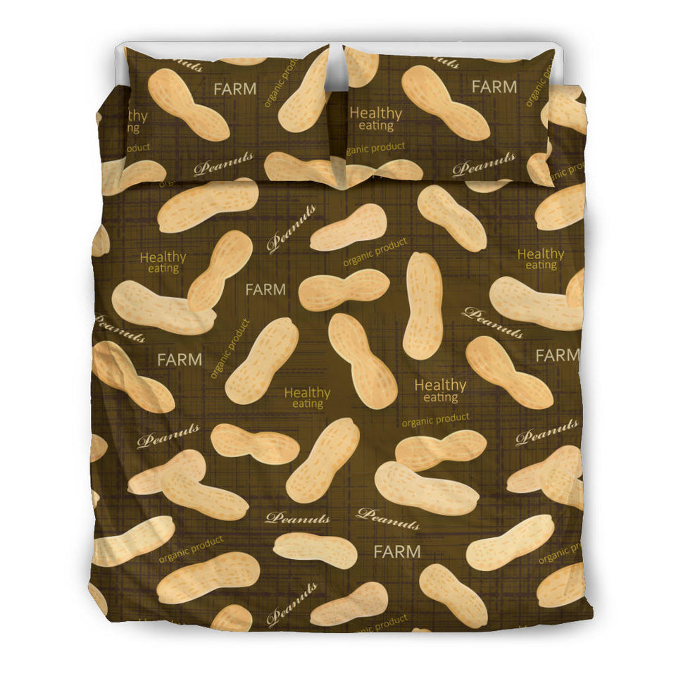 Peanut Pattern Green Background Bedding Set