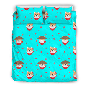 Shiba Inu Japanese Hat Pattern Bedding Set
