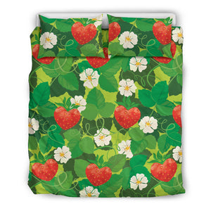 Strawberry Leaves Pattern Bedding Set