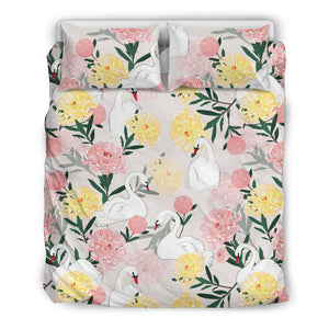 Swan Flower Pattern Bedding Set