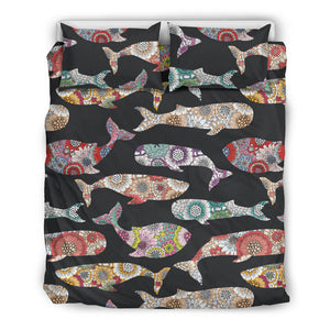 Whale Flower Tribal Pattern Bedding Set