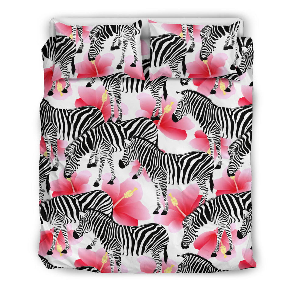 Zebra Red Hibiscus Pattern Bedding Set