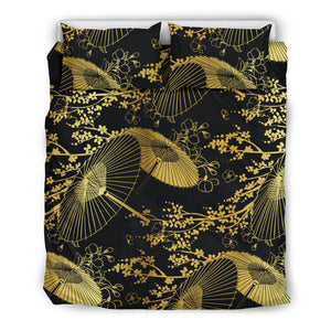 Gold Fan Flower Japanese Pattern Bedding Set-Black