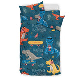 Dinosaur Music Skating Pattern Bedding Set