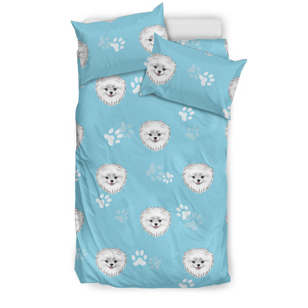Pomeranian Pattern Blue Background Bedding Set