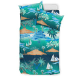 Sailboat Water Color Pattern Bedding Set