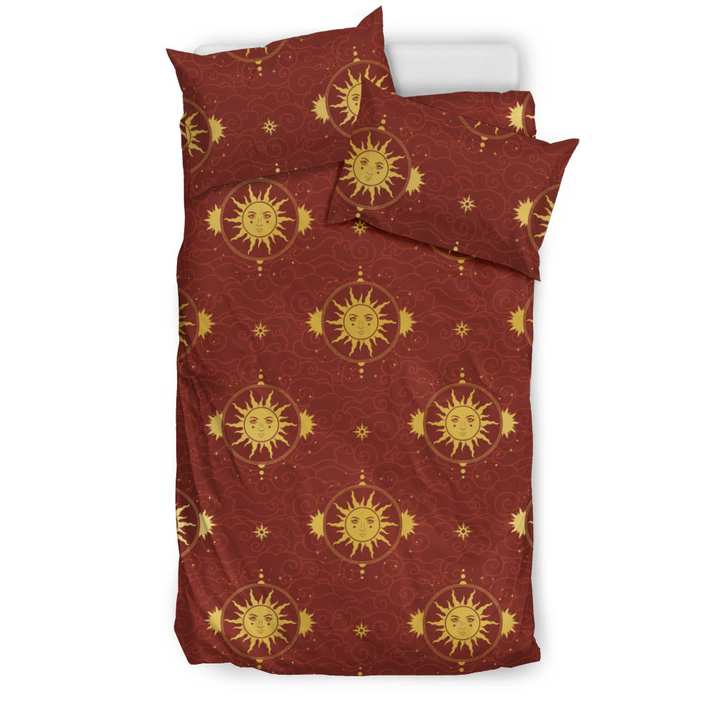Sun Pattern Red Background Bedding Set