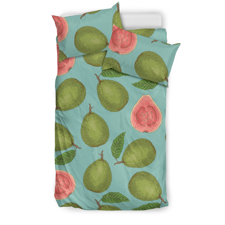 Guava Pattern Green Background Bedding Set