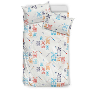 Hand Drawn Windmill Pattern Bedding Set