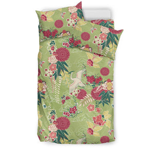 Japanese Crane Green Theme Pattern Bedding Set