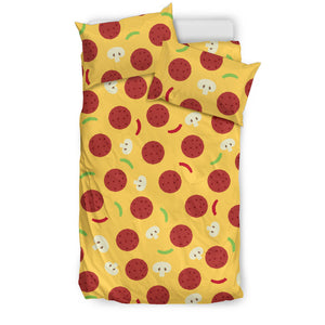 Pizza Salami Mushroom Texture Pattern Bedding Set