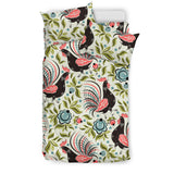 Rooster Chicken Leaves Pattern Bedding Set
