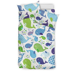 Whale Stripe Dot Pattern Bedding Set
