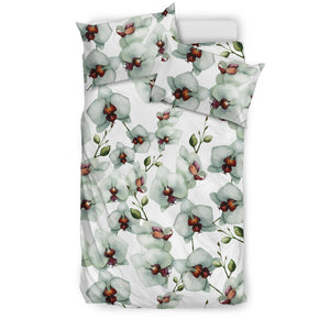 White Orchid Pattern Bedding Set