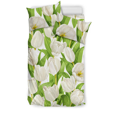 White Tulip Pattern Bedding Set