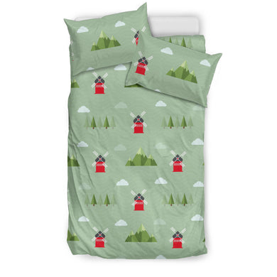 Windmill Green Pattern Bedding Set