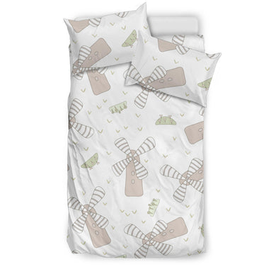 Windmill Pattern Background Bedding Set