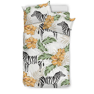 Zebra Hibiscus Pattern Bedding Set