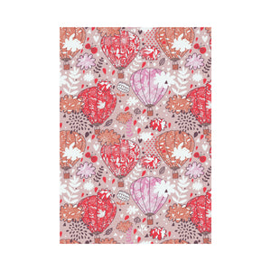 Red Pink Hot Air Balloon Pattern House Flag Garden Flag