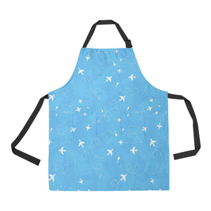 Airplane Pattern Blue Backgroung Adjustable Apron