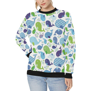 Whale Stripe Dot Pattern Women's Crew Neck Sweatshirt