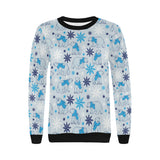 Polar Bear Pattern Blue Background Women's Crew Neck Sweatshirt