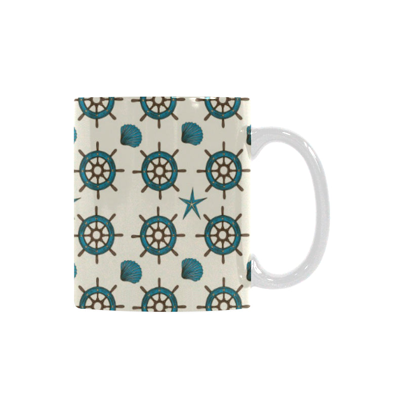 Nautical Steering Wheel Rudder Shell Pattern Classical White Mug (FulFilled In US)