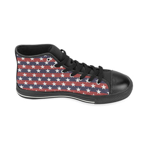 USA Star Pattern Background Women's High Top Shoes Black