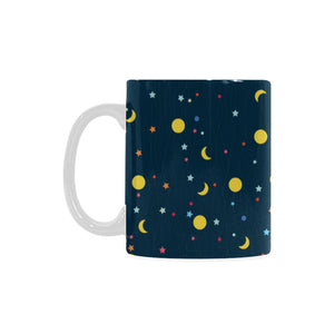 Moon Star Pattern Classical White Mug (FulFilled In US)