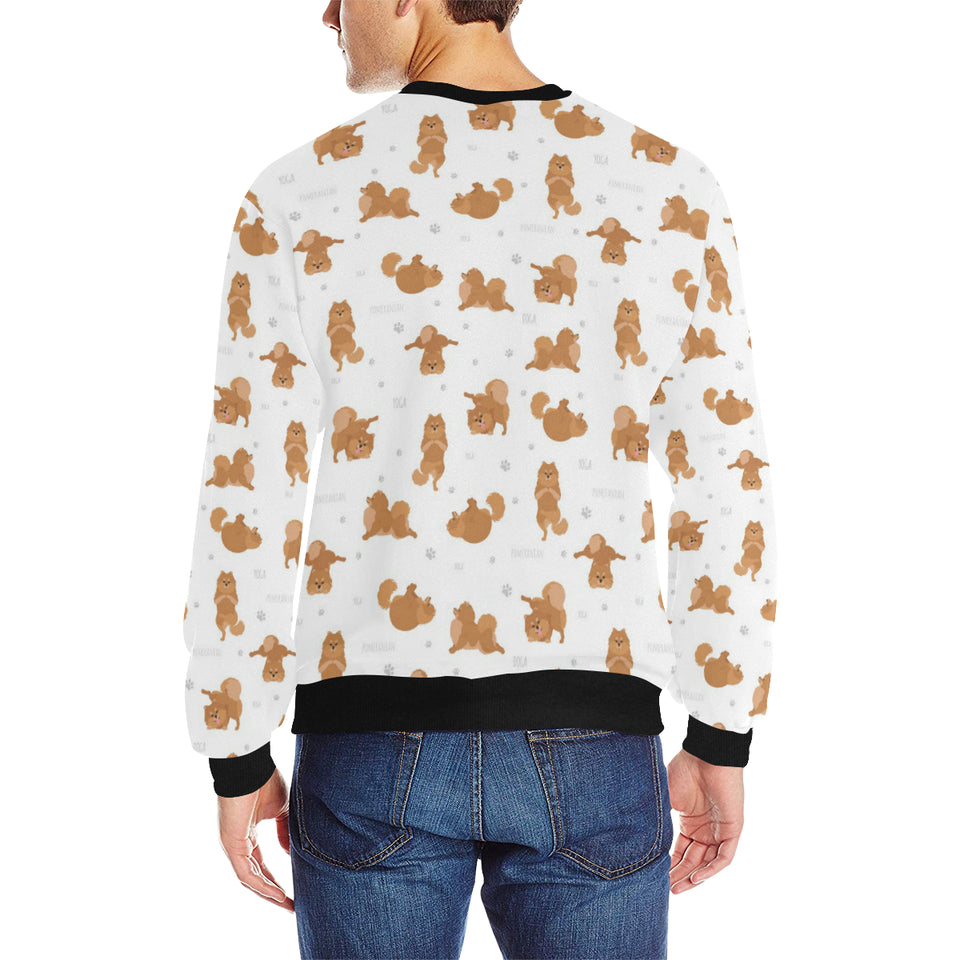 Pomeranian Yoga Pattern Men's Crew Neck Sweatshirt