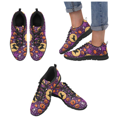 Halloween Pumpkin Witch Pattern Women's Sneakers Black