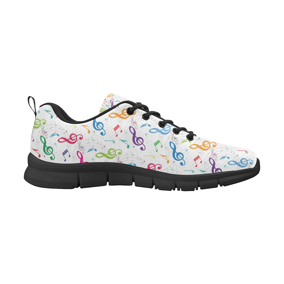 Music Notes Pattern Print Design 02 Men's Sneakers Black