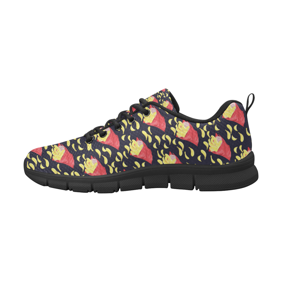 Potato Chips Pattern Print Design 05 Women's Sneakers Black