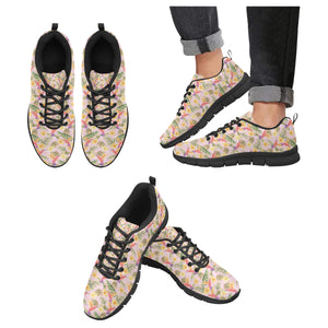 Hummingbird Pattern Print Design 03 Men's Sneakers Black