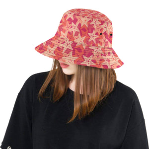 Starfish Red Theme Pattern Unisex Bucket Hat