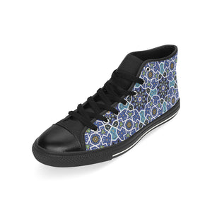 Blue Arabic Morocco Pattern Men's High Top Shoes Black