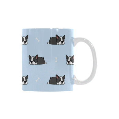 Sleep Boston Terrier Bone Pattern Classical White Mug (FulFilled In US)