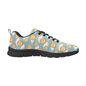 Lion Pattern Print Design 05 Men's Sneakers Black