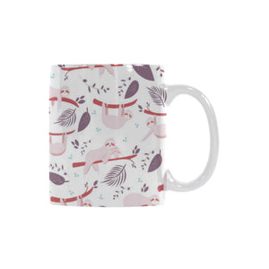 Sloth Leaves Pattern Classical White Mug (FulFilled In US)