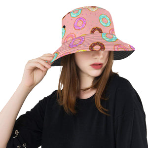 Donut Pattern Pink Background Unisex Bucket Hat