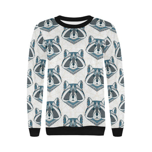 Raccoon Head Pattern Women's Crew Neck Sweatshirt