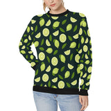 Lime Leaves Pattern Women's Crew Neck Sweatshirt