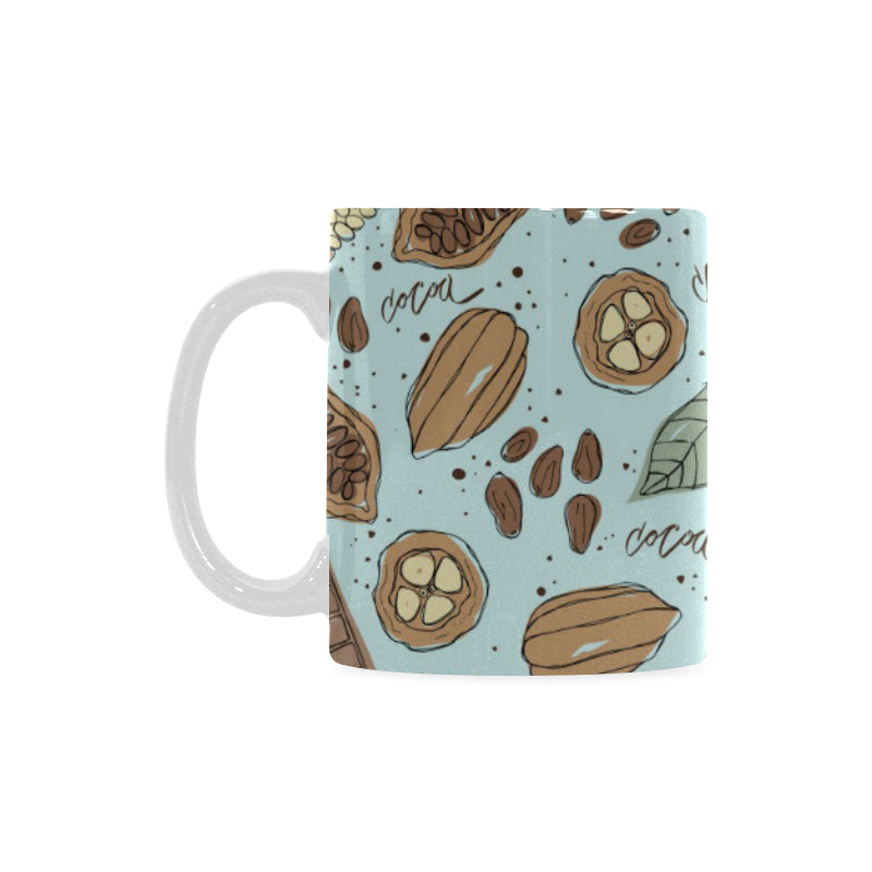 Hand Drawn Cocoa Pattern Classical White Mug (FulFilled In US)