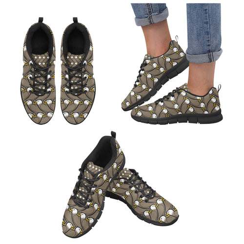 Eagle Pattern Print Design 02 Women's Sneakers Black