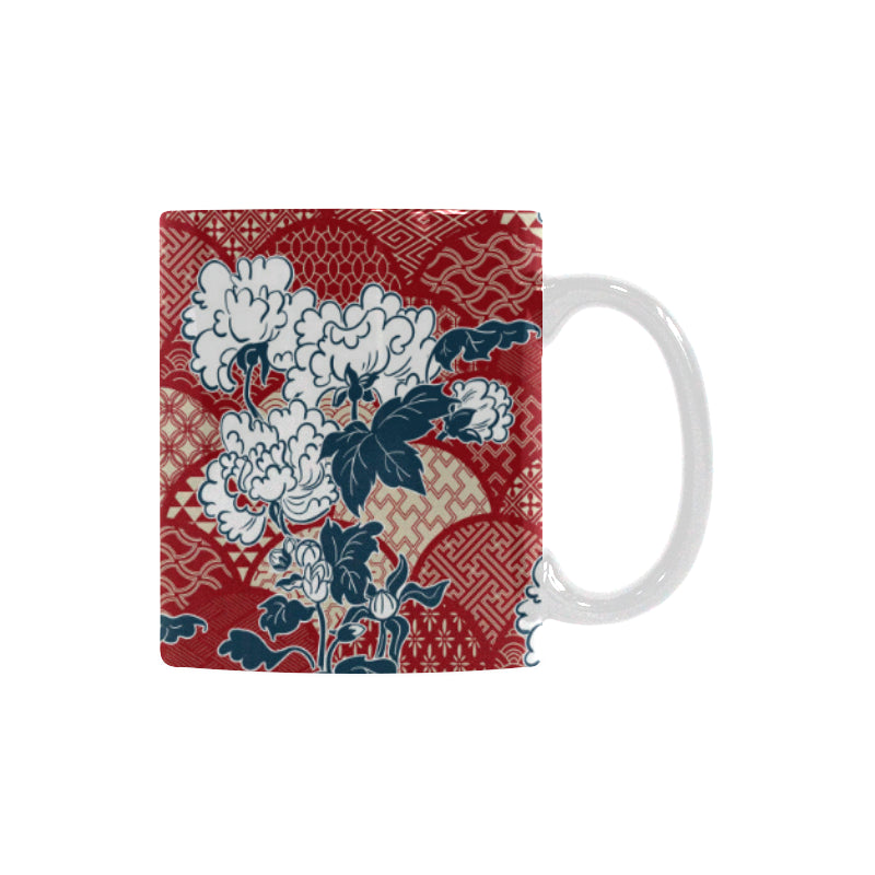 Red Theme Japanese Pattern Classical White Mug (FulFilled In US)