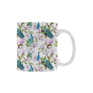 Peacock Pink Flower Pattern Classical White Mug (FulFilled In US)