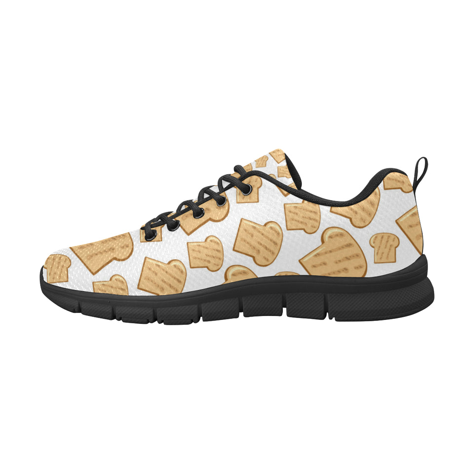 Bread Toast Pattern Print Design 05 Women's Sneakers Black